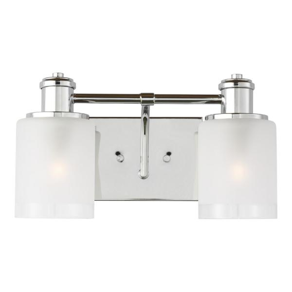 Norwood 14.125 in. 2-Light Chrome Vanity Light with Clear Highlighted Satin Etched Glass Shades