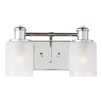 Norwood 14.125 in. 2 Light Chrome Vanity Light with Clear Highlighted Satin Etched Glass Shades