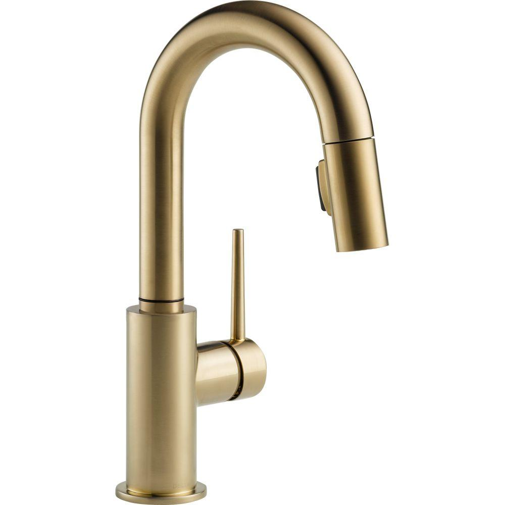 trinsic single handle pull down sprayer bar faucet with magnatite docking in champagne bronze - Gold Kitchen Faucet