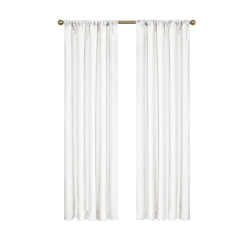 Eclipse Kendall Blackout Window Curtain Panel in White - 42 in. W x 95 in. L