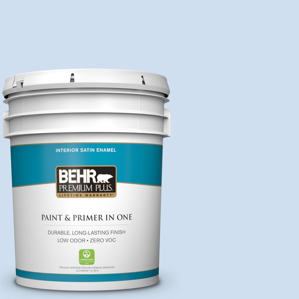 BEHR Premium Plus 5-gal. #560A-1 Pale Sky Zero VOC Satin Enamel Interior Paint