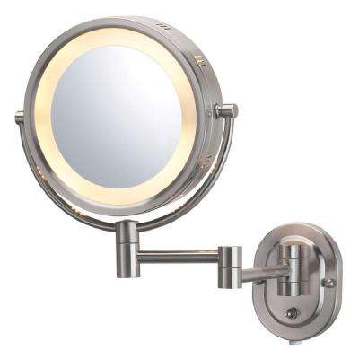 5X Halo Lighted 13 in. L x10 in. W Wall Mount Makeup Mirror in Nickel