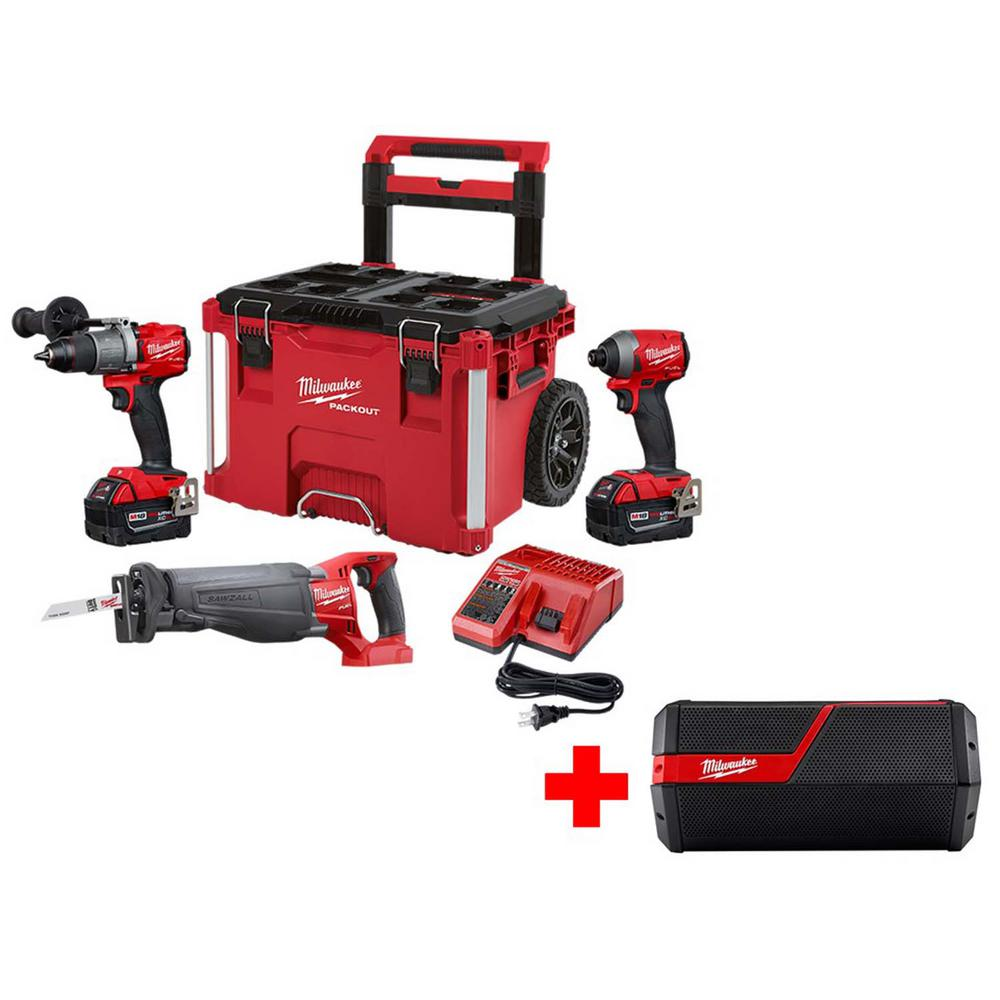 Milwaukee M18 FUEL 18-Volt Lithium-Ion Brushless Cordless Combo Kit 3-Tool with Free M18/M12 Speaker and PACKOUT Rolling Tool Box