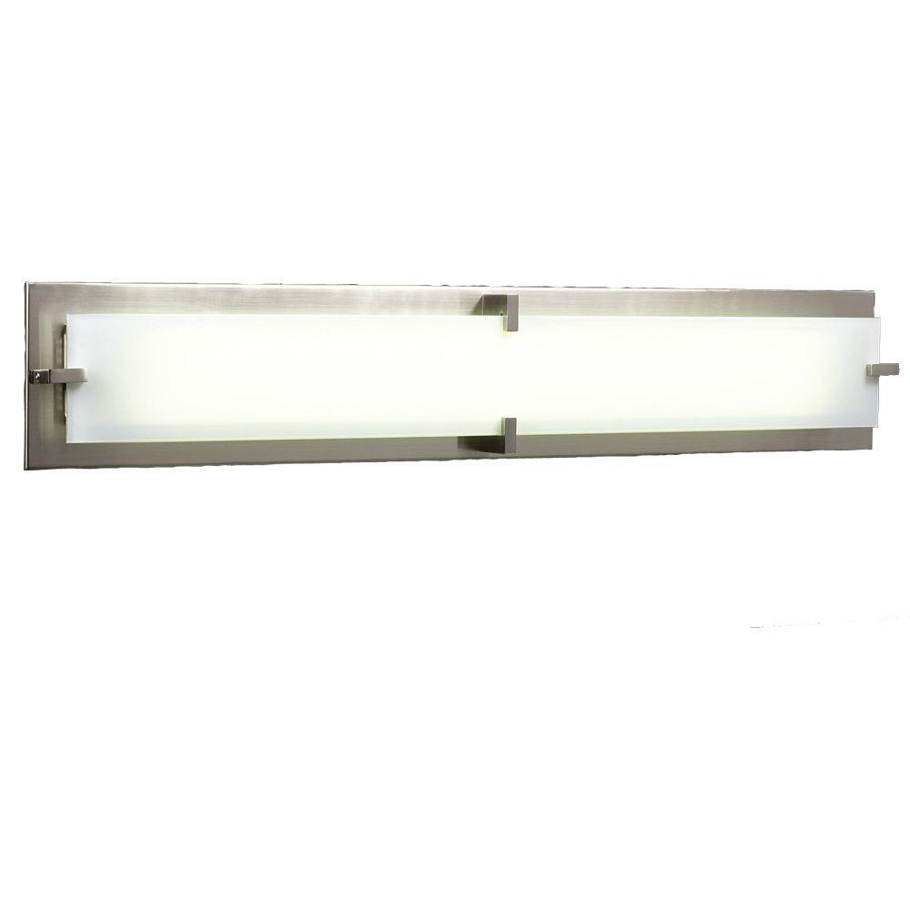 PLC Lighting 2-Light Satin Nickel Bath Vanity Light with Frost Glass