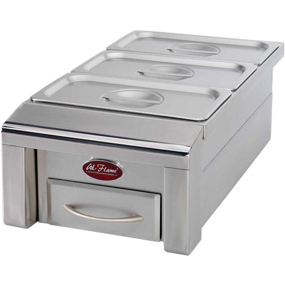 12 in. Drop-In Stainless Steel BBQ Food Warmer for Outdoor Grill