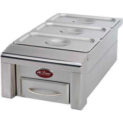 12 in. Drop-In Stainless Steel BBQ Food Warmer for Outdoor Grill Island