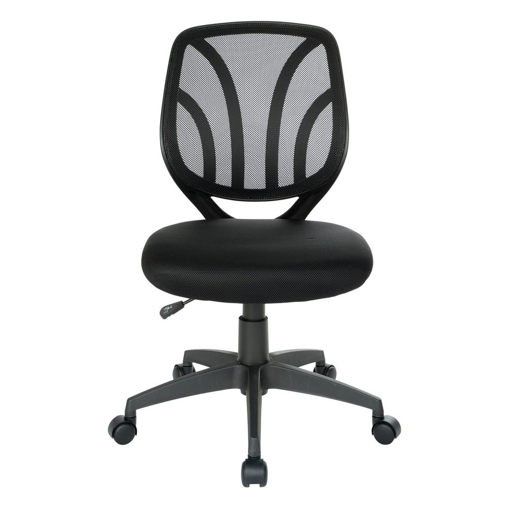Black Mesh Screen Back Armless Task Chair with Dual Wheel Carpet Casters