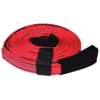2 in. x 30 ft. x 20,000 lb.Tow and Lifting Strap with Hook and Loop Storage Fastener in Red