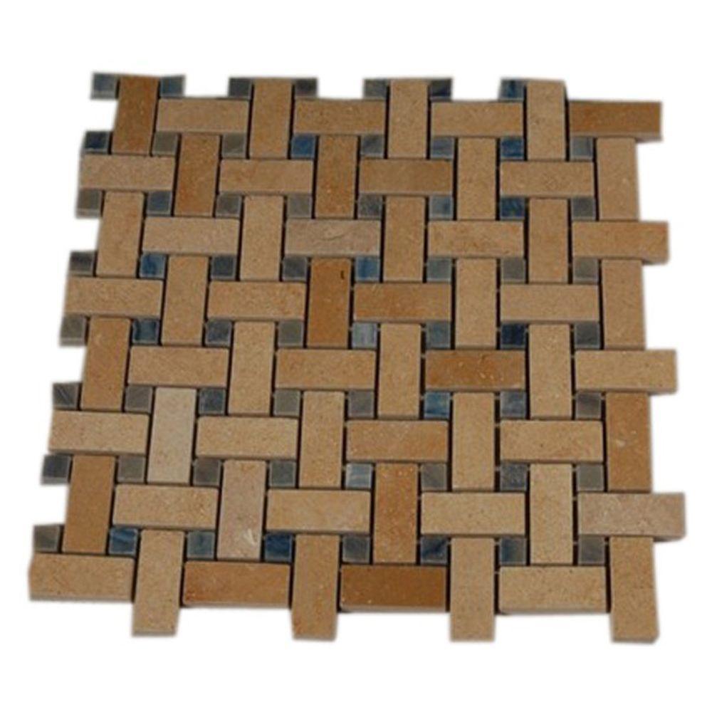 - Ivy Hill Tile Basket Braid Jerusalem Gold And Blue Macauba 12 In