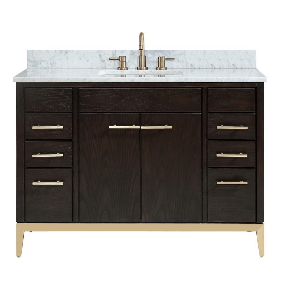 Hepburn 49 in. W x 22 in. D Bath Vanity in Dark Chocolate with Marble Vanity Top in Carrara White with Basin