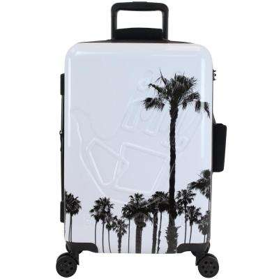 Redondo 22 in. White and Palm Trees Hardside Luggage
