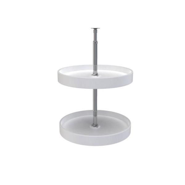 32 in. H x 18 in. W x 18 in. D White Polymer Dependent 2-Shelf Full Circle Lazy Susan Set