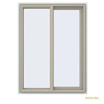 35.5 in. x 47.5 in. V-4500 Series Desert Sand Painted Vinyl Right-Handed Sliding Window with Fiberglass Mesh Screen