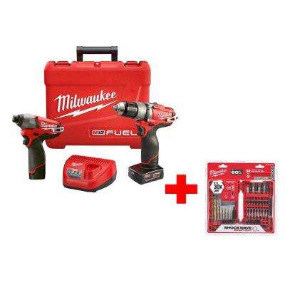 M12 FUEL 12-Volt Lithium-Ion 1/2 in. Hammer Drill/Driver and Impact Combo Kit with Shockwave Impact Bit Set (50-Piece)