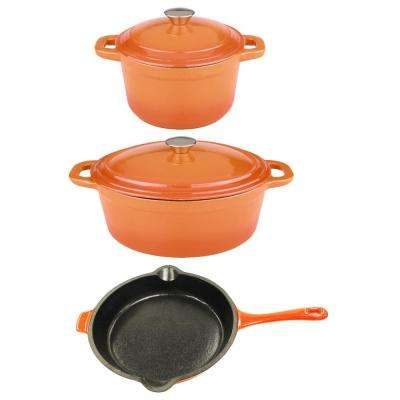 Neo 5-Piece Orange Cast Iron Cookware Set