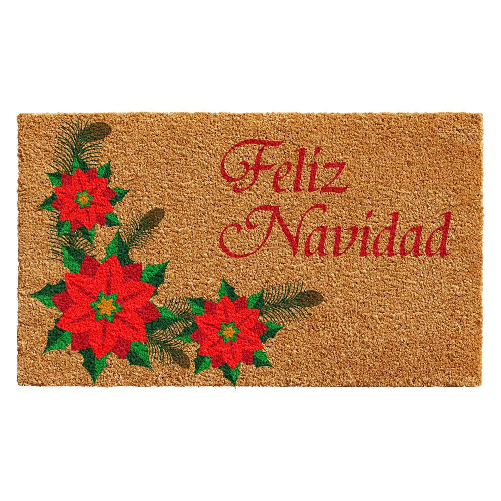 Feliz Navidad 17 in. x 29 in. Coir Door Mat