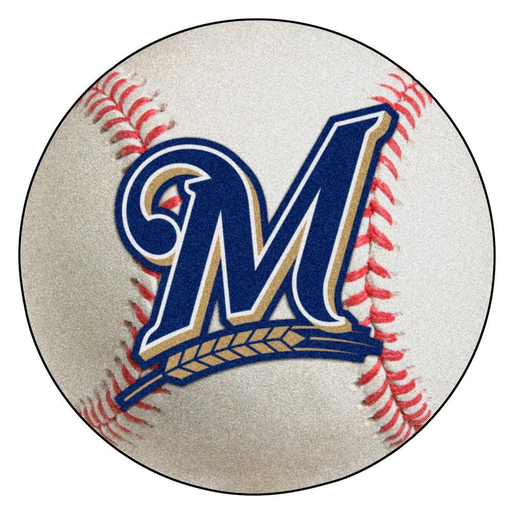 MLB Milwaukee Brewers Photorealistic 27 in. Round Baseball Mat
