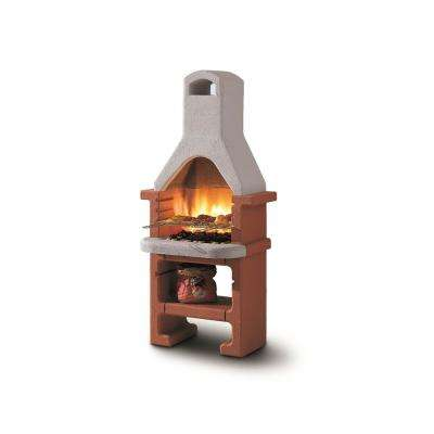 Palazzetti Corea Charcoal Outdoor Pedestal Grill in Natural and Brick Red