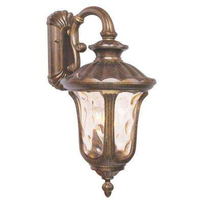 Providence Wall-Mount 3-Light Moroccan Gold Outdoor Incandescent Lantern