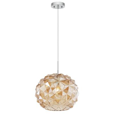 Gia 14 in. Chrome/Champagne Pendant Light with Glass Shade