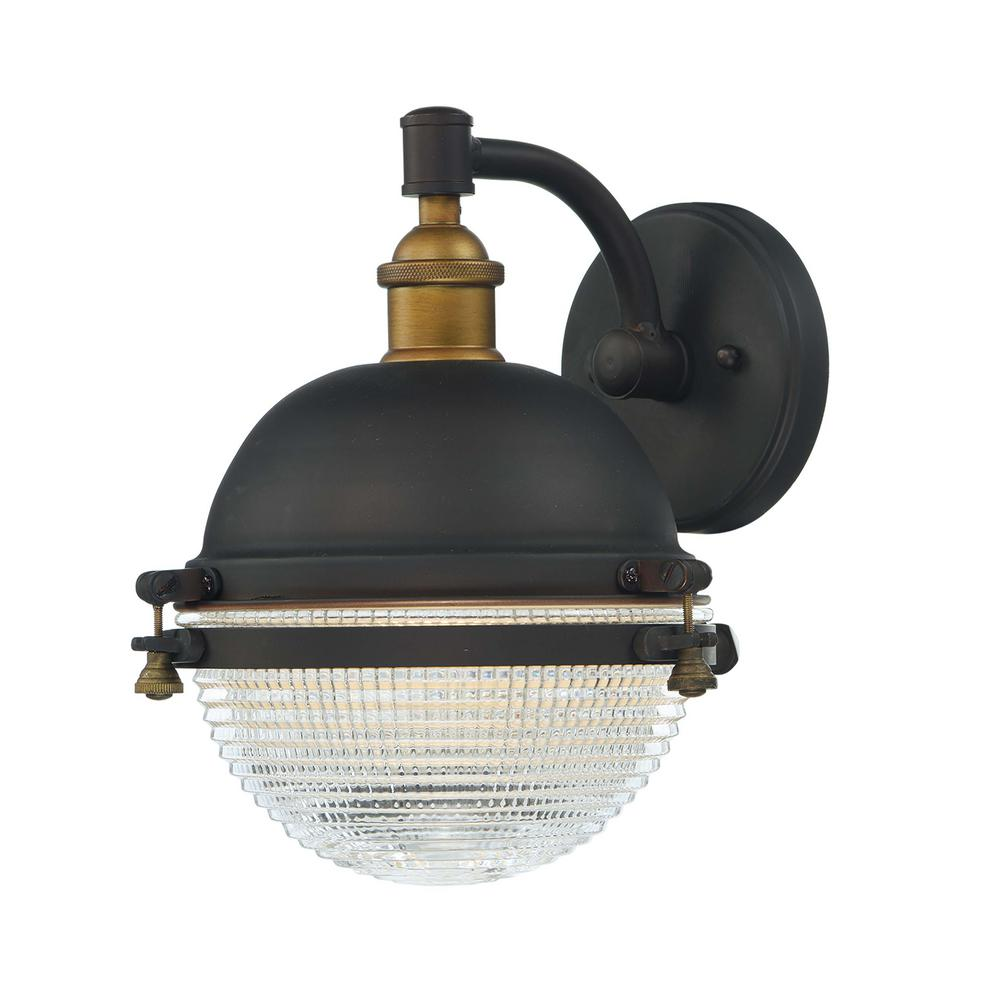 Portside 10 in. W 1-Light Oil Rubbed Bronze / Antique Brass Outdoor Wall Lantern Sconce