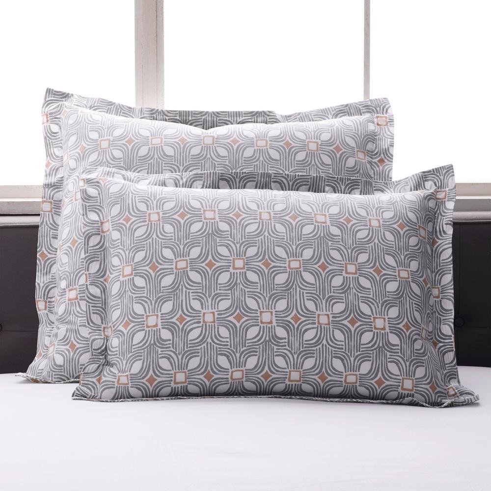Cowan Multicolored Geometric 300-Thread Count Organic Cotton Percale King Sham