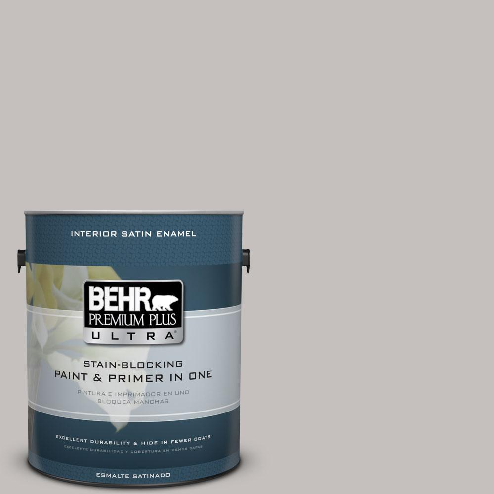 BEHR Premium Plus Ultra 1 gal. #PPU18-10 Natural Gray Satin Enamel Interior Paint and Primer in One