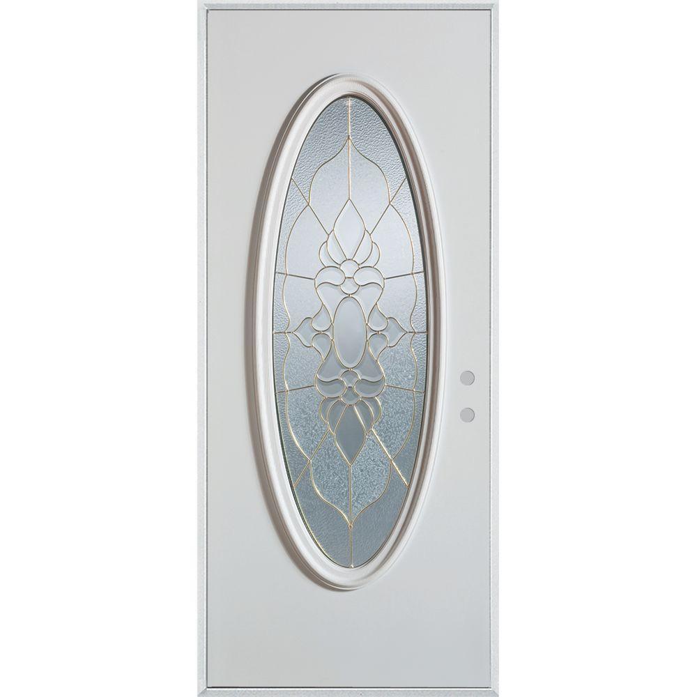 Stanley Doors 36 in. x 80 in. Traditional Patina Oval Lite Prefinished White Left-Hand Inswing Steel Prehung Front Door