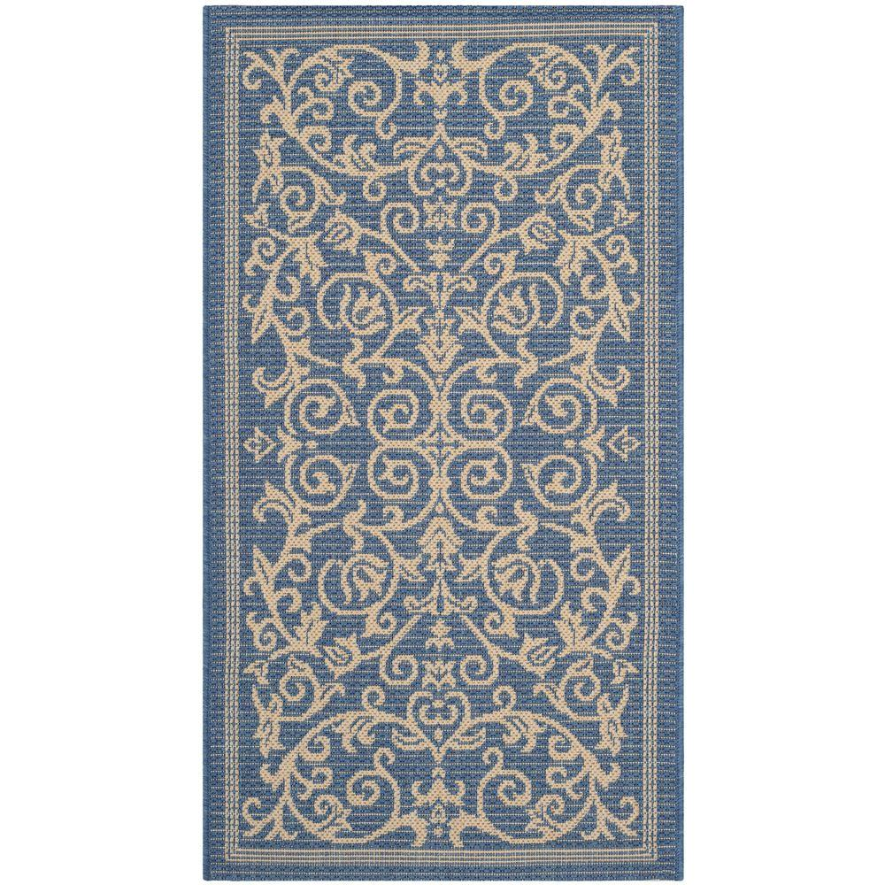 Indoor Outdoor Rugs Home Depot: Safavieh Courtyard Blue/Natural 2 Ft. X 3 Ft. 7 In. Indoor