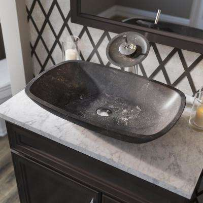 Stone Vessel Sink in Gray Limestone