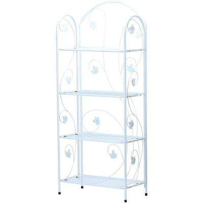 60 in. Tall White Metal 4-Tier Plant Stand
