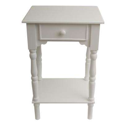 Accent White End Table