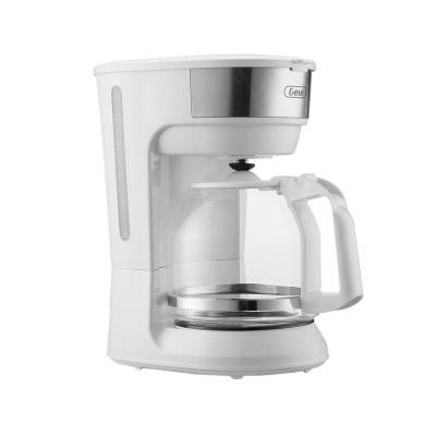 12-Cup White Drip Coffee Maker with Glass Carafe