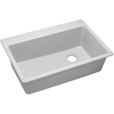 Quartz Classic Drop-In Composite 33 in. Single Bowl Kitchen Sink in White with Offset Drain