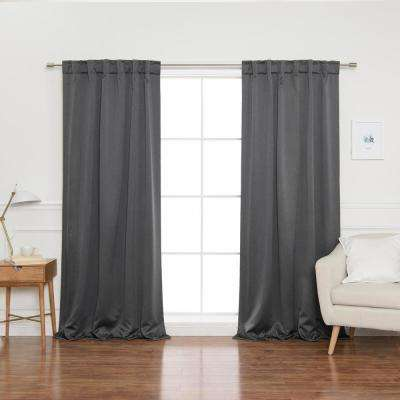 Heathered Linen Look 52 in. W x 96 in. L Back Tab Blackout Curtains in Dark Grey (2- Pack)