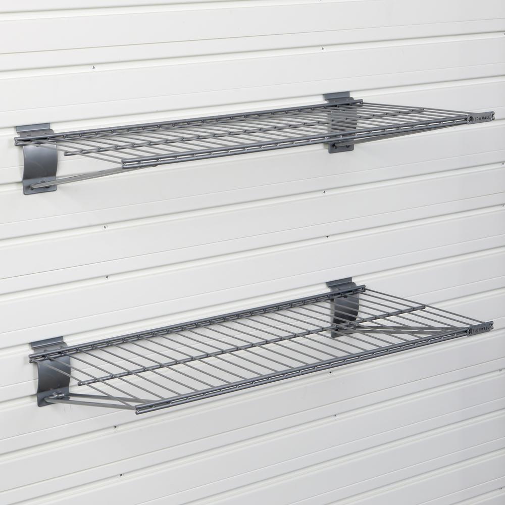 24 in. x 12 in. Metal Bracket Shelf - Silver (2-Pack)