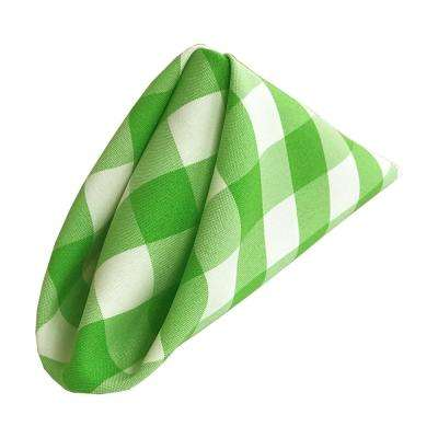 18 in. x 18 in. White and Lime Gingham Checkered Napkins (Pack of 10)