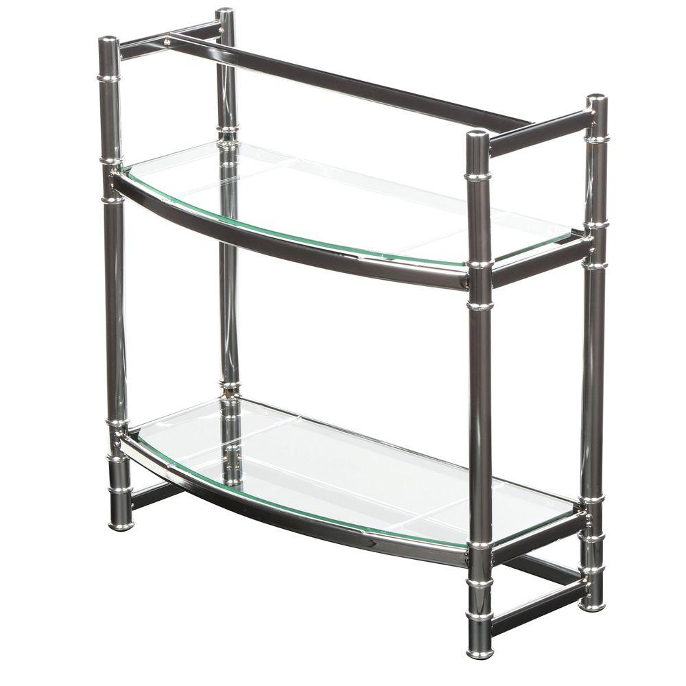Zenith Studio Accents 21 in. W Wall Shelf in Chrome and Glass