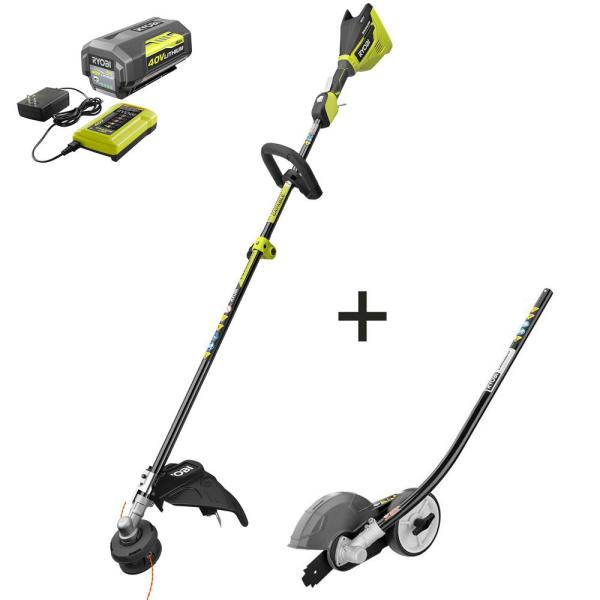40-Volt Lithium-Ion Brushless Electric Cordless Attachment Capable Edger, 4.0 Ah Battery and Charger Included
