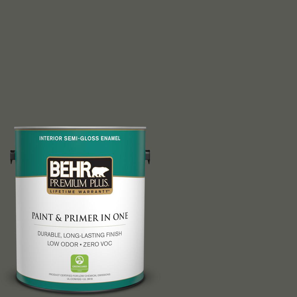 BEHR Premium Plus 1 gal. #N370-7 Night Mission Semi-Gloss Enamel Zero VOC Interior Paint and Primer in One