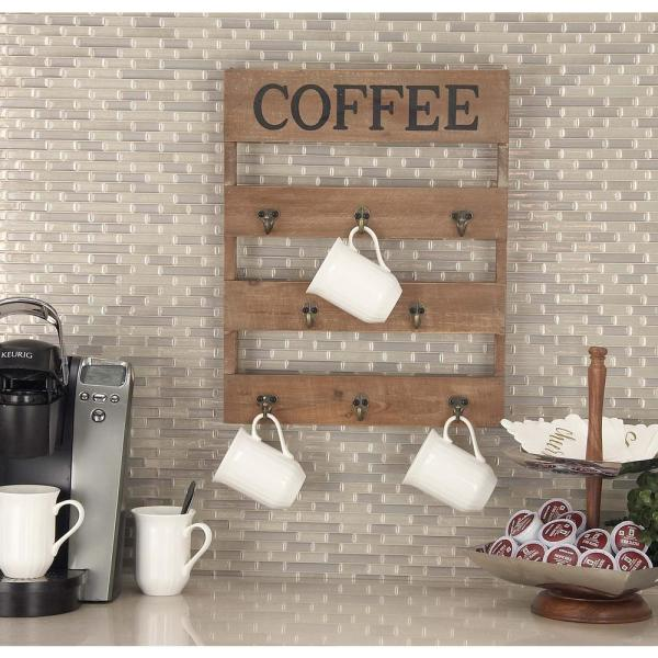 15 in. x 19 in. Traditional Wood and Metal ''Coffee'' Wall Hook