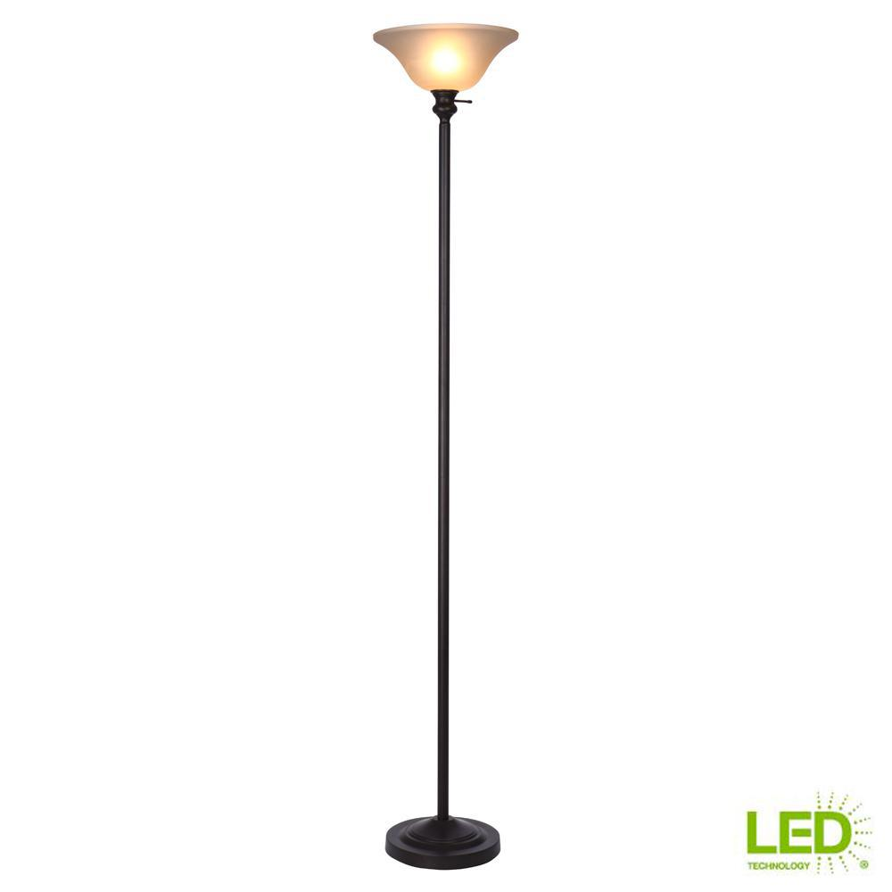 Hampton Bay 71 25 In Bronze Torchiere Floor Lamp Plastic