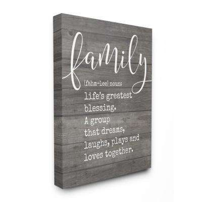 """16 in. x 20 in. """"Family Definition Planked"""" by Lettered and Lined Printed Canvas Wall Art"""