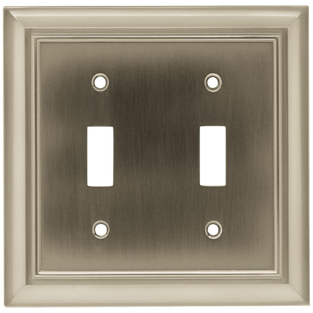 Hampton Bay Architectural Decorative Double Switch Plate Satin Nickel