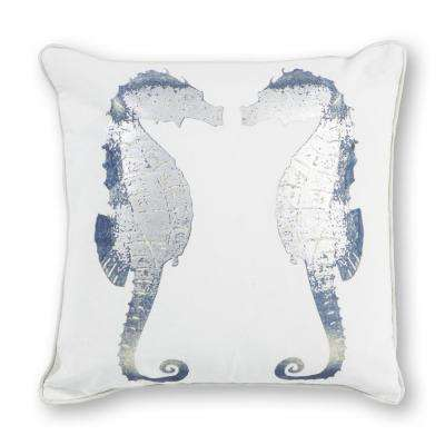 Silver Seahorses 18 in. x 18 in. Decorative Pillow