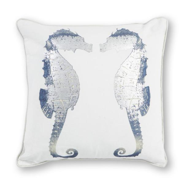 Kas Rugs Silver Seahorses 18 in. x 18 in. Decorative Pillow