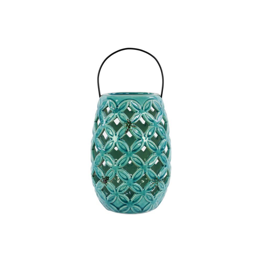 Turquoise Candle Ceramic Decorative Lantern
