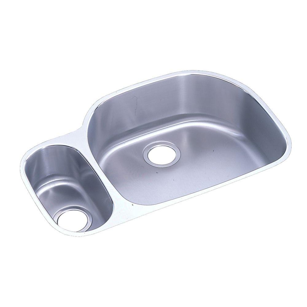 Elkay Ertone Undermount Stainless Steel 32 In Double Bowl Kitchen Sink With 10