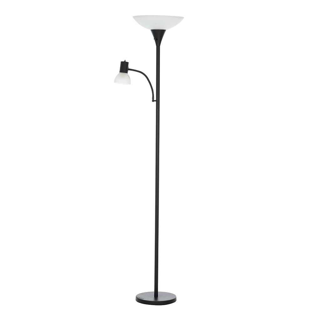 premium selection 78962 0c4ca Cresswell 72 in. Matte Black Transitional Floor Lamp with Reading Light
