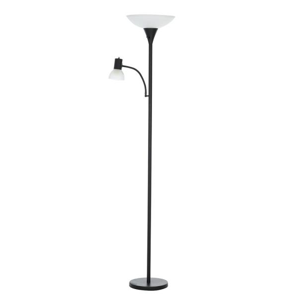 72 in. Matte Black Transitional Floor Lamp with Reading Light